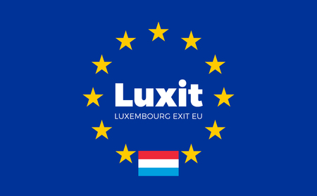 legality: Flag of Luxembourg on European Union. Luxit - Luxembourg Exit EU European Union Flag with Title EU exit for Newspaper and Websites. Isolated Vector EU Flag with Luxembourg Country and Exit Name Luxit. Illustration