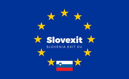 autonomia: Bandera de Eslovenia en la Uni�n Europea. Slovexit - Eslovenia salida de la bandera de la Uni�n Europea UE con salida T�tulo de la UE para peri�dicos y sitios web. Vector aislado de la bandera de la UE con Eslovenia Pa�s y Salir Nombre Slovexit.