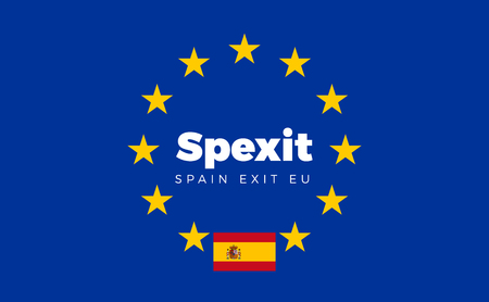 constitutional: Flag of Spain on European Union. Spexit - Spain Exit EU European Union Flag with Title EU exit for Newspaper and Websites. Isolated Vector EU Flag with Spain Country and Exit Name Spexit. Illustration