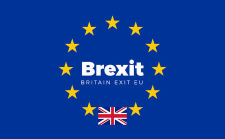 entity: Flag of Britain on European Union. Brexit - Britain Exit EU European Union Flag with Title EU exit for Newspaper and Websites. Isolated Vector EU Flag with Britain Country and Exit Name Brexit. Illustration
