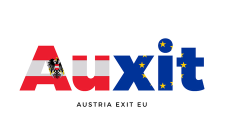 detach: AUXIT - Austria exit from European Union on Referendum. Vector Isolated