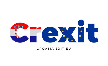 constitutional: CREXIT - Croatia exit from European Union on Referendum. Vector Isolated