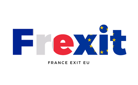 secession: FREXIT - France exit from European Union on Referendum. Vector Isolated Illustration