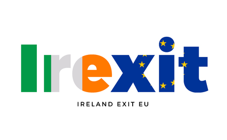 electorate: IREXIT - Ireland exit from European Union on Referendum. Vector Isolated Illustration