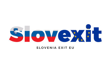 SLOVEXIT - Slovenia exit from European Union on Referendum. Vector Isolated Illustration
