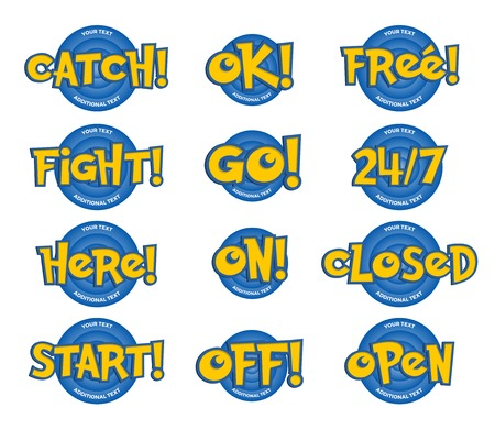 24 off: Phrases in a Cartoon Game Style. Catch, Ok, Free, Fight, Go, Here, On, Closed, Start, Off and Open. Isolated Yellow lettering color with blue background