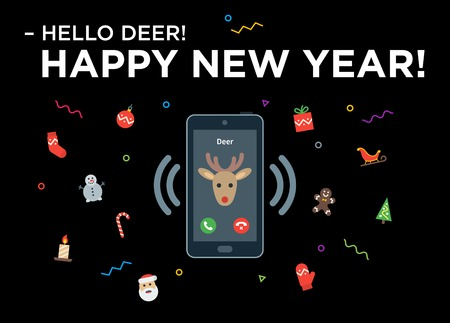 Christmas Reindeer phone call with lettering Happy New Year. Material design vector illustration on black Illustration