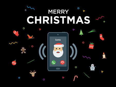 Christmas phone call from santa claus with greeting christmas christmas phone call from santa claus with greeting christmas and happy new year lettering material m4hsunfo