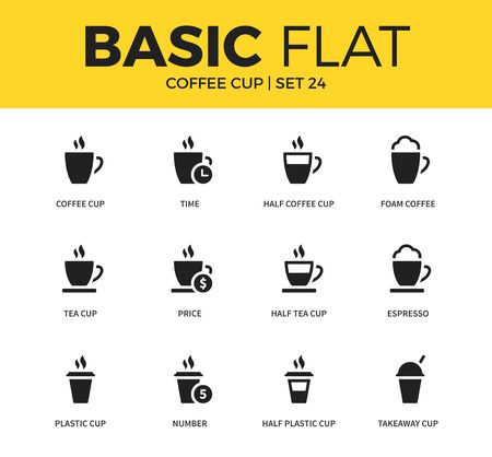 Basic set of coffee icons Vektoros illusztráció