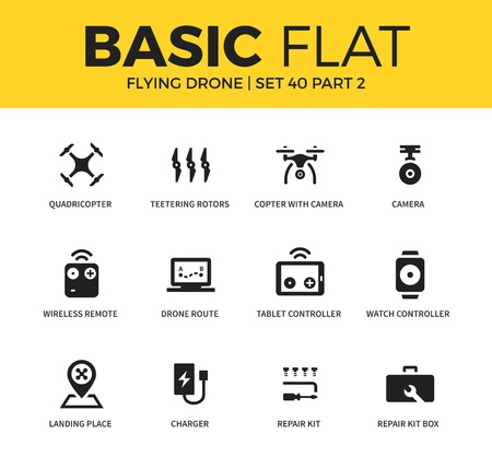 unmanned: Basic set of flying drone icons
