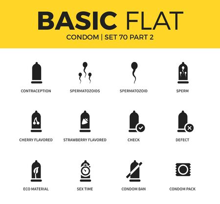 elongacion: Basic set of condom icons