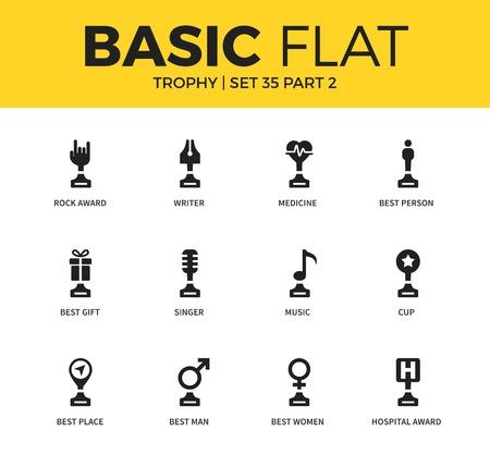 Basic set of Trophy icons Illustration