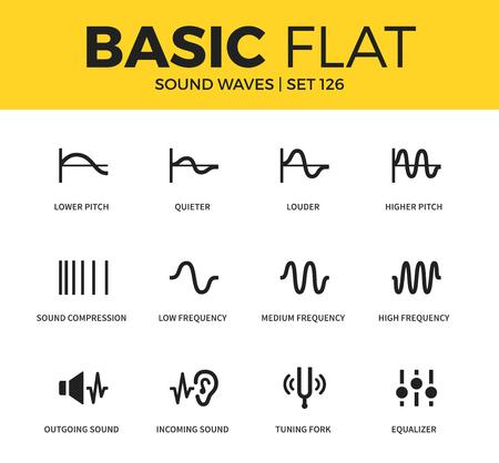 Basic set of Sound waves icons