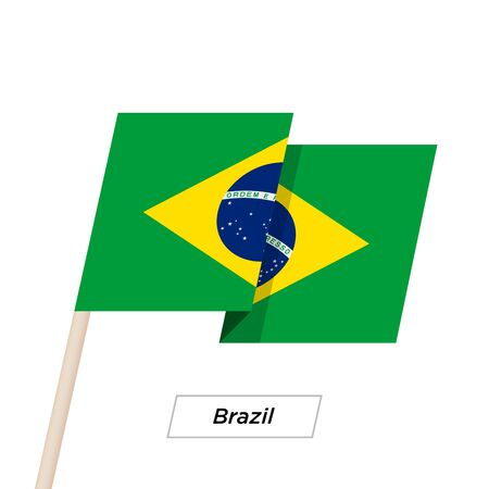 recollection: Brazil Ribbon Waving Flag Isolated on White. Vector Illustration. Illustration