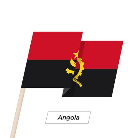 ngola: Angola Ribbon Waving Flag Isolated on White. Vector Illustration. Illustration