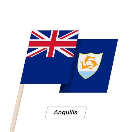 anguilla: Anguilla Ribbon Waving Flag Isolated on White. Vector Illustration. Illustration