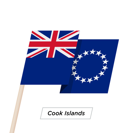 Cook Islands Ribbon Waving Flag Isolated on White. Vector Illustration.