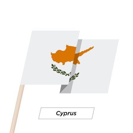 Cyprus Ribbon Waving Flag Isolated on White. Vector Illustration. Illustration
