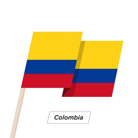colombian: Colombia Ribbon Waving Flag Isolated on White. Vector Illustration. Illustration