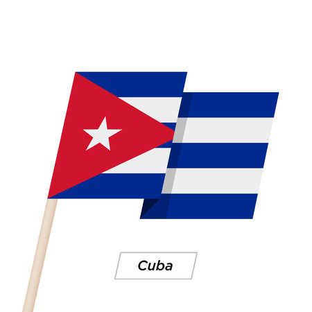 recollection: Cuba Ribbon Waving Flag Isolated on White. Vector Illustration.