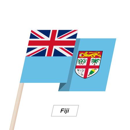 Fiji Ribbon Waving Flag Isolated on White. Vector Illustration.