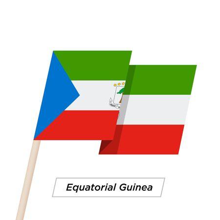 Equatorial Guinea Ribbon Waving Flag Isolated on White. Vector Illustration. Illustration