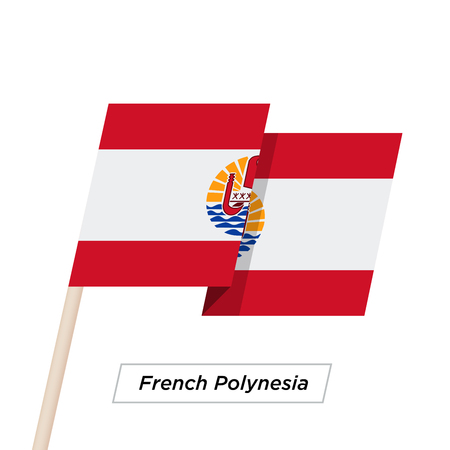 French Polynesia Ribbon Waving Flag Isolated on White. Vector Illustration.