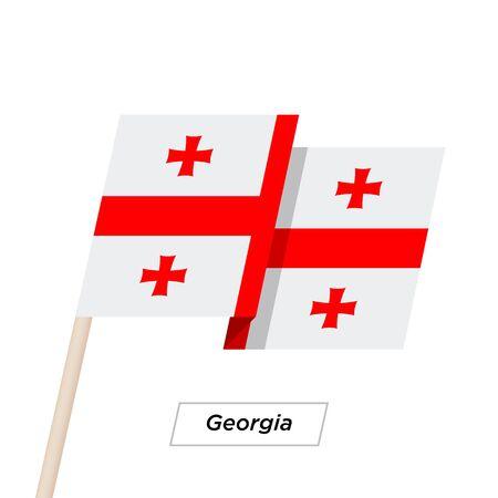 Georgia Ribbon Waving Flag Isolated on White. Vector Illustration.