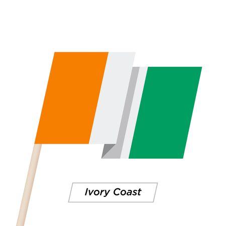 Ivory Coast Sharp Ribbon Waving Flag Isolated on White. Vector Illustration.