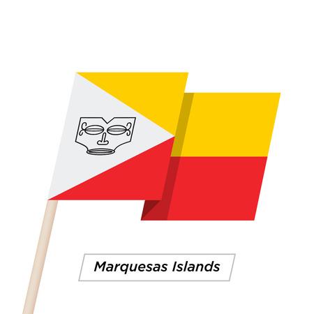 Ruban des îles Marquises agitant le drapeau isolé sur blanc. Illustration vectorielle