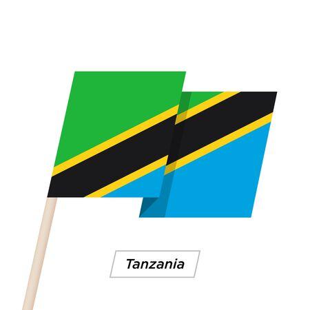 Tanzania Ribbon Waving Flag Isolated on White. Vector Illustration.