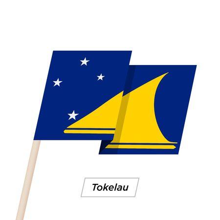 tokelau: Tokelau Ribbon Waving Flag Isolated on White. Vector Illustration.