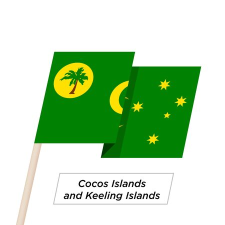 cocos: Cocos Islands and Keeling Islands Ribbon Waving Flag Isolated on White. Vector Illustration.