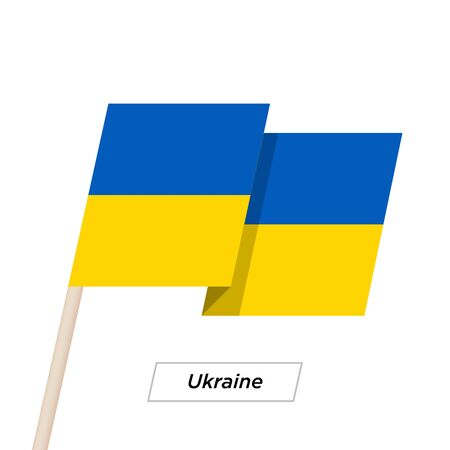 emblem of ukraine: Ukraine Ribbon Waving Flag Isolated on White. Vector Illustration.