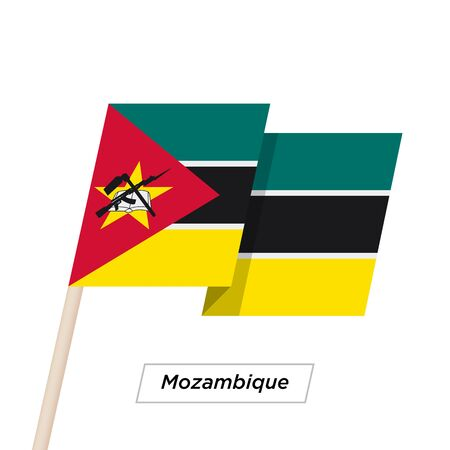 Mozambique Ribbon Waving Flag Isolated on White. Vector Illustration.