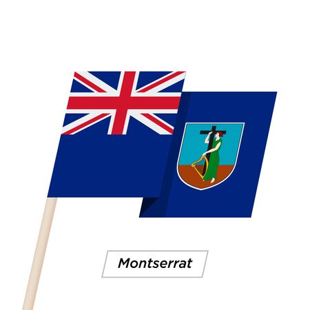 Montserrat Ribbon Waving Flag Isolated on White. Vector Illustration. Illustration