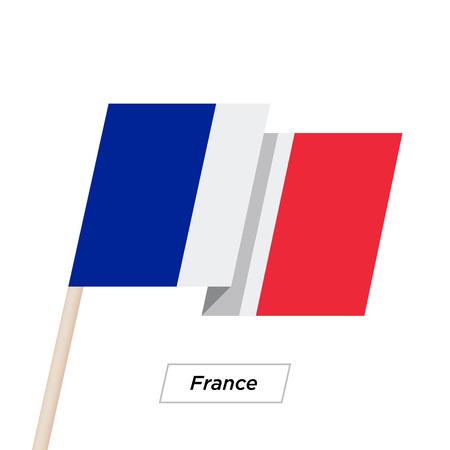 francaise: France Ribbon Waving Flag Isolated on White. Vector Illustration. France Flag with Sharp Corners