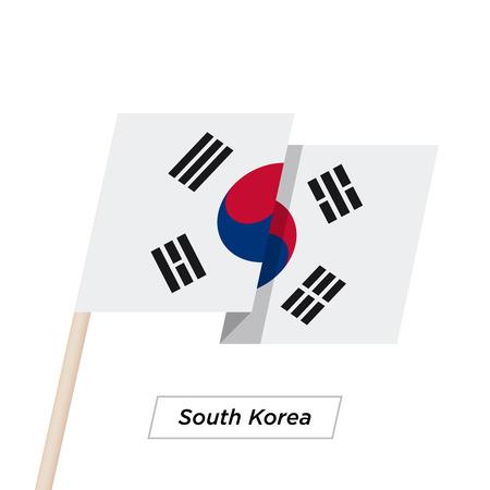 far east: South Korea Ribbon Waving Flag Isolated on White. Vector Illustration. Illustration