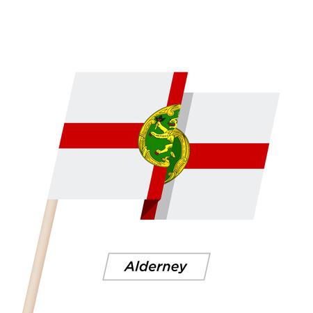 Alderney Ribbon Waving Flag Isolated on White. Vector Illustration.  イラスト・ベクター素材