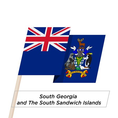 georgia: South Georgia and South Sandwich Islands Ribbon Waving Flag Isolated on White. Vector Illustration.