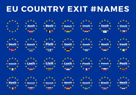 Names for EU exits Members. Brexit, Frexit, Italexit, Spexit