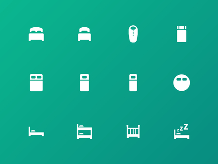 bunk: Bed, bunk and sleeping bag icons on green background. Illustration