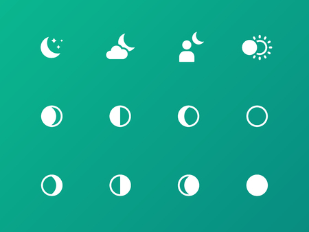 Moon phase icons on green pattern.