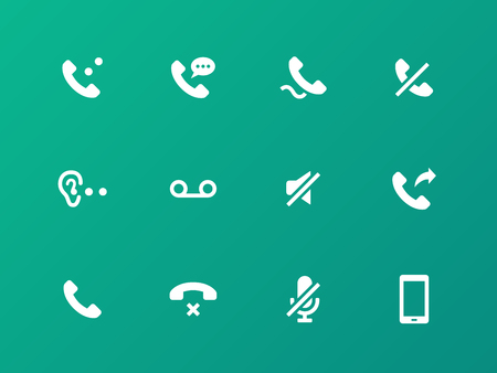 tel: Call icons on green background. Illustration