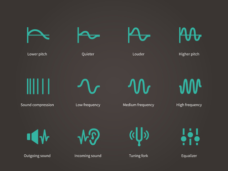 Sound compression and audio waves icons set.