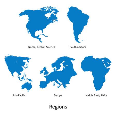 Carte vectorielle détaillée des régions Amérique du Nord - Amérique centrale, Asie Pacifique, Europe, Amérique du Sud, Afrique centrale et orientale