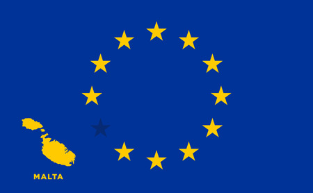 EU flag with Malta country. European Union membership Malta Illustration