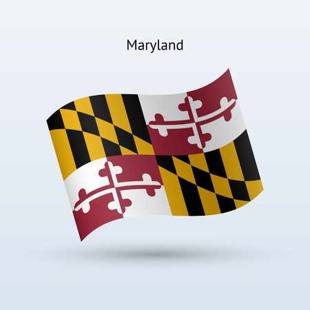 State of Maryland flag waving form. Vector illustration. Illustration