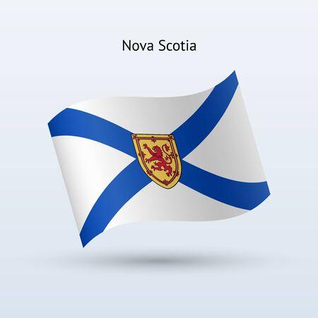 Canadian province of Nova Scotia flag waving form. Illustration