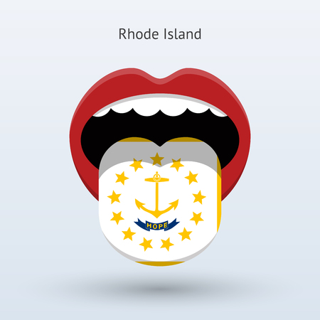 human tongue: Electoral vote of Rhode Island. Abstract mouth.